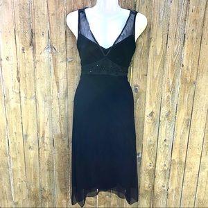 Elie Tahari Black Silk Bead Accent Dress